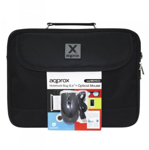 """Approx (APPNBBUNDLE2) Carry Case & Mouse Bundle - 15.6"""""""" Case in Black with USB Optical Mouse"""